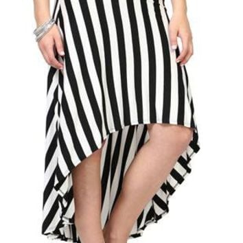black and white stripe high low skirt from deb shops