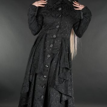 BROCADE RUFFLE COAT