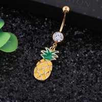 Fruit Belly Button Ring Fashion Body Piercing Jewelry Retail Pineapple Navel Piercing 14G 316L Surgical Steel Bar Piercing Navel