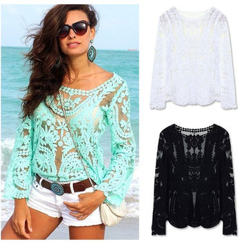 2015 Women Blouses Spring Summer Fashion Crochet Lace Tops Hollow Out Lady Lace Shirt Lace Blouse Blusas = 1830109764