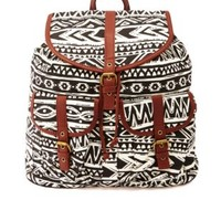 Tribal Print Canvas Backpack by Charlotte Russe - Black