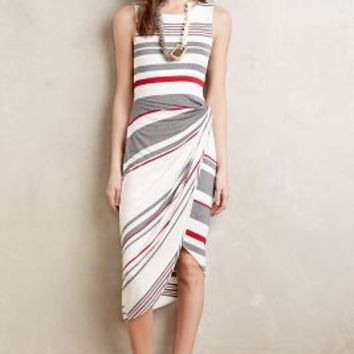 Bailey 44 Gathered Stripes Midi Dress