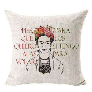 Cushion Cover Frida Kahlo Self Portrait Pillowcase Cotton Linen Cushion Sofa Bedroom Home Decorative Throw Pillow Cover