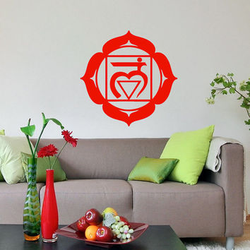 Vinyl Decal Root Chakra Religion Faith Indian Symbol Om Yoga Buddhism Housewares Wall Sticker Art Design Murals Interior Home Decor SV5258
