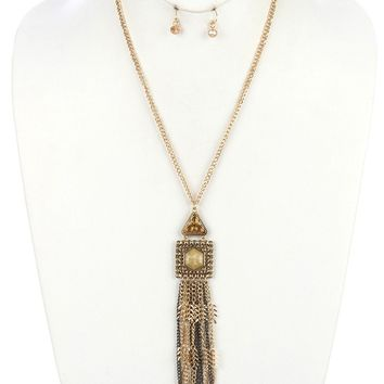 Natural Aged Finish Metal Long Chain Fringe Necklace And Earring Set