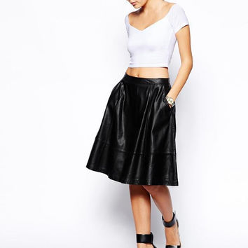 Black Casual Faux Leather Midi Skirt