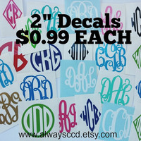 "SUPER SALE All 2"" Monogram Decals Only .99"