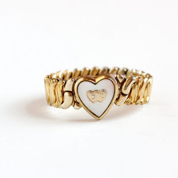 Sale - Vintage Heart D & C Expansion Bracelet - WWII Era 1940s Mother of Pearl Yellow Gold Filled Sweetheart DC Jewelry Phoenix Speidelmade