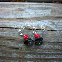 Red Coral and Black Shell Stud Earrings Minimalist Modern Jewelry