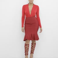RHONDA FISH TAIL MIDI SKIRT - RED