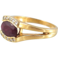 Splendid ruby and brilliant cut estate diamond ring crafted in 18K solid gold, stamped French fine gold ring