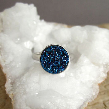 Blue Druzy Ring Titanium Drusy Quartz Sterling Silver Adjustable Band