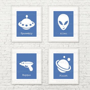 Geeky Nursery decor | Alien Nursery | Geeky kids room poster | Kids room decor | Minimalist art | custom color available