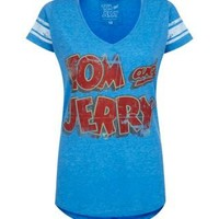 New Look Mobile | Blue Tom And Jerry Varsity T-Shirt