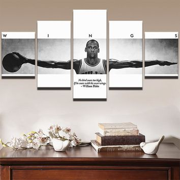 5 Pieces PanelSports Basketball Player WINGS Poster Framed UNframed