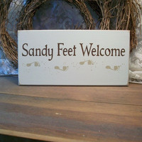 Sandy Feet Welcome Beach Wood Sign Painted by CountryWorkshop