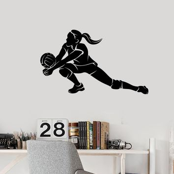Vinyl Wall Decal Volleyball Player Teen Girl Sports Art Room Decoration Stickers Mural (ig5498)