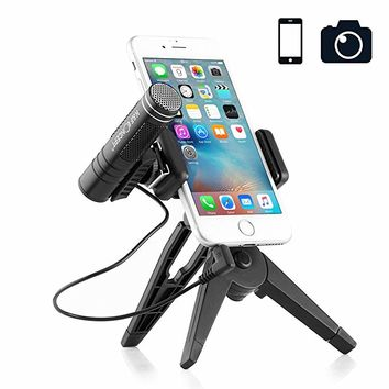 Professional Recording Microphone Phone Camera Microphone with Foldable Tripod Stand Podcast Shotgun Microphones for iPhone Android,Smartphones, YouTube Video, Interview, Studio