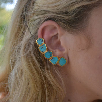JULY 4th SALE TURQUOISE Earcuff /// Ear Climber /// Electroformed Ear Cuff