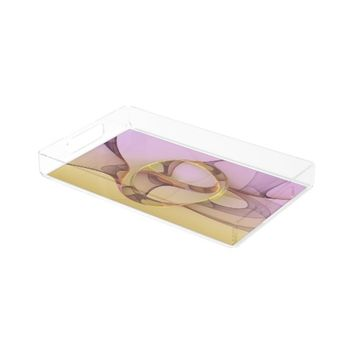 Abstract Motions, Modern Light Pink Yellow Fractal Serving Tray