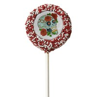 Day of the Dead, Festive Sugar Skull w/Roses Chocolate Dipped Oreo Pop
