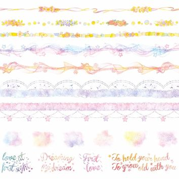 8Designs NEW Flowers/Lace/Letter/Rainbow/Cloud Pattern Japanese Washi Decorative Adhesive DIY Masking Paper Tape Sticker Label