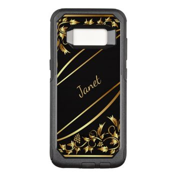Black with chic gold colored classic decor name OtterBox commuter samsung galaxy s8 case