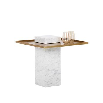 VENO WHITE MARBLE BASE WITH ANTIQUE GOLD METAL TOP END TABLE