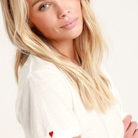 Heart on Sleeve White Embroidered Tee