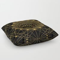 Geometric Circle Black and Gold Floor Pillow by Fimbis