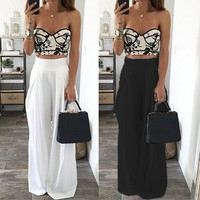 Fashion Women Wide Leg Pants High Waist Dance Party Pants Pantalones Mujer Casual Trousers Loose Long Chiffon Harem Pants