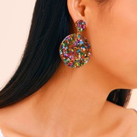 Double Round Drop Earrings 1pair