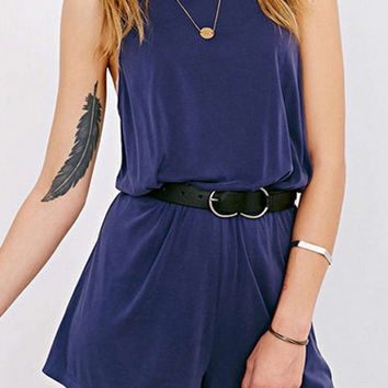 Dark Blue Sleeveless Romper with Belt