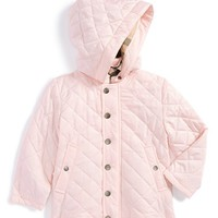 Toddler Girl's Burberry Hooded Quilted Jacket,