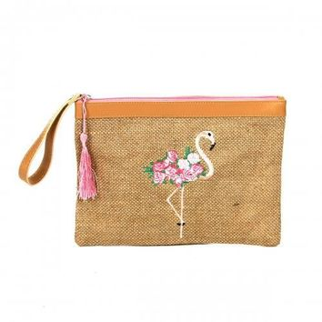 Flamingo Clutch with Tassel