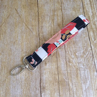 Wristlet Key fob / Fabric Keychain  / Swivel Clip Keyfob - Black and White Stripe with Coral and Mint Flowers