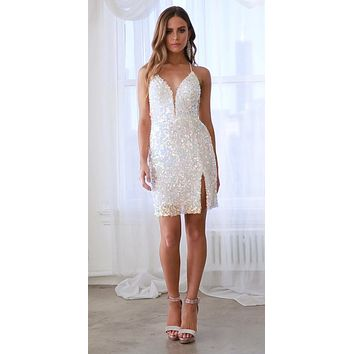 Fitted Iridescent Sequin Cocktail Dress Opal Blush Slit Lace Up Corset Back