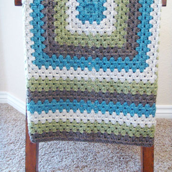 Crochet Baby Blanket for Boys - Crochet Granny Square Blanket - Baby Shower Gift for Boy - Hand Made Baby Blanket - Crochet Lap Blanket