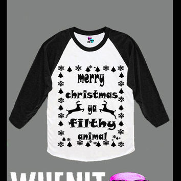 Merry Christmas You Ya Filthy Animal hand print women baseball shirt 40424