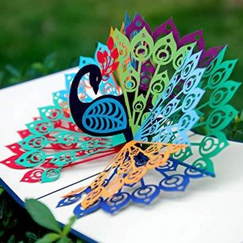 Peacock Bird 3D Pop-Up Card - Ideal for Birthdays, Mothers day, Thank You, House Warming, Wedding or Anniversaries - Fathers Day