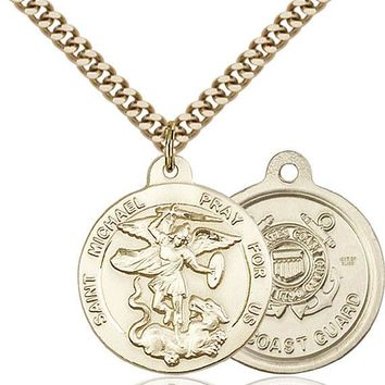 14K Gold Filled St Michael Coast Guard Military Soldier Catholic Medal Necklace 617759792249