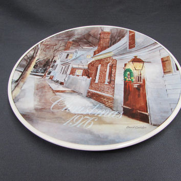 1976 Smuckers Christmas Plate   Collectible Porcelain Holiday Plate
