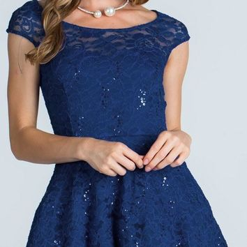 Lace Cap Sleeves Short Cocktail Dress Boat Neckline Navy Blue