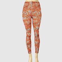 Leopard Print Exotic Design Leggings Coral