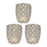 Metallic Silver Votive Candle Holder, Set of 3