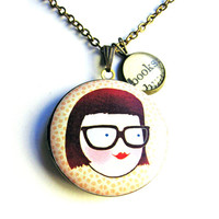 Nerdy Girl Glasses Locket Books Word Pendant Brass Setting Library Card Necklace One of a Kind