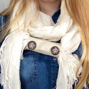 Upcycled Extra Wide Ivory Leather 2 Sun Button Embellished Scarf Cuff