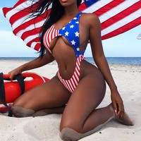 Summer Hot Sale Women Sexy National Flag Digital Print One Piece Bikini Swimsuit