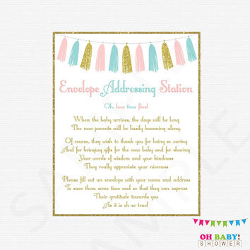 Pink and Blue, Write Your Address Sign, Baby Shower Sign, Gender Reveal Party, Printable, Pink and Blue Tassel, Instant Download, TASPBG