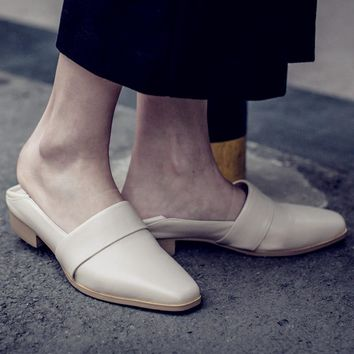 Summer Stylish Square Toe Shoes Leather Korean Slippers [6047367553]